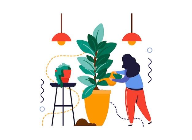 Flache zusammensetzung des hausgartens mit frau, die hauspflanzen mit hängender lampenvektorillustration wässert