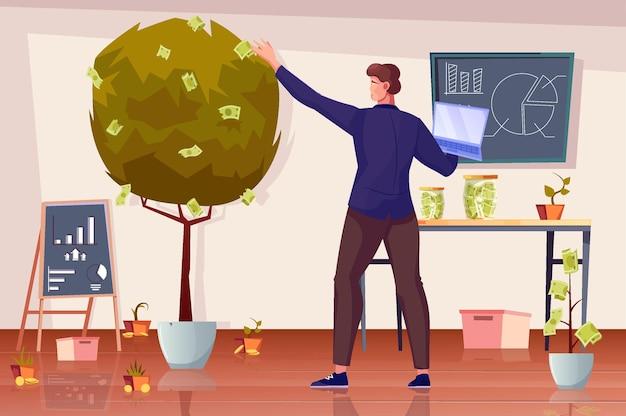 Flache zusammensetzung des investitionsgewinns mit innenlandschaft mit tafelgeldbaum und menschlichem charakter, der banknoten sammelt