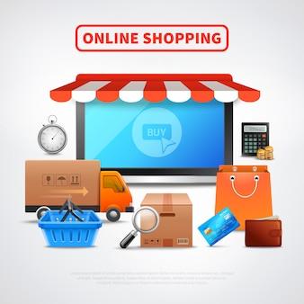 Flache zusammensetzung des online-shops