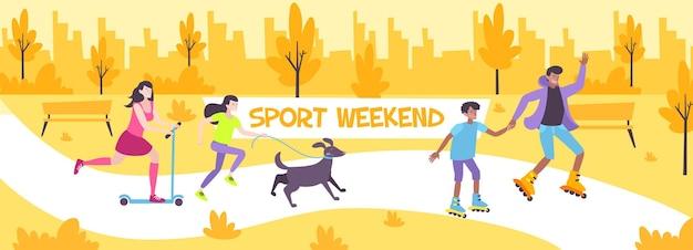 Flache zusammensetzung des sportwochenendes mit familie, die im stadtpark mit haustier und schlittschuhlaufen auf rollschuhillustration geht,