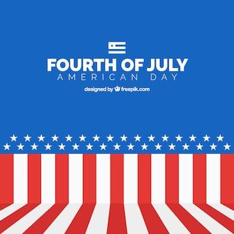 Flachen hintergrund der unabhängigkeitstag mit amerikanischen flagge