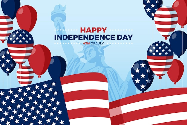 Flacher 4. juli - unabhängigkeitstagballonhintergrund