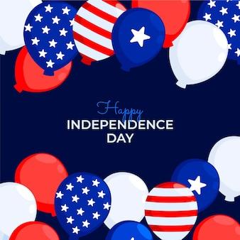Flacher 4. juli - unabhängigkeitstagballonhintergrund Kostenlosen Vektoren