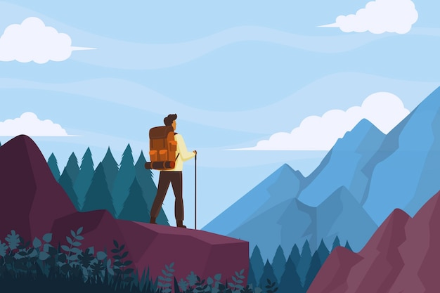 Flacher abenteuerhintergrund mit bergen