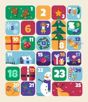 Flacher adventskalender mit weihnachtselementen