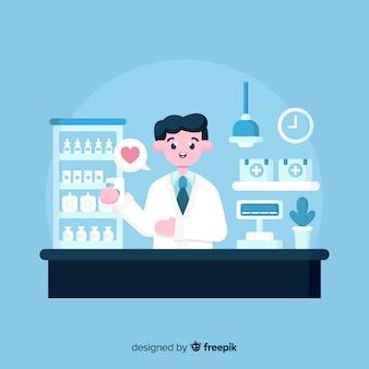 Flacher apotheker, der an kundenhintergrund teilnimmt