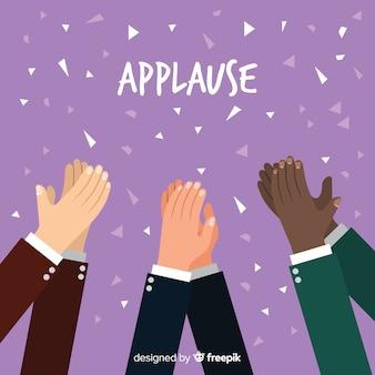 Flacher applaus mit konfettihintergrund