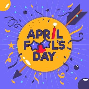 Flacher aprilscherztag mit konfetti