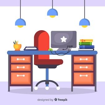 Flacher arbeitsplatz oder bürokonzept