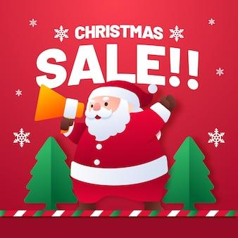 Flacher artweihnachtsverkauf mit weihnachtsmann-karikatur