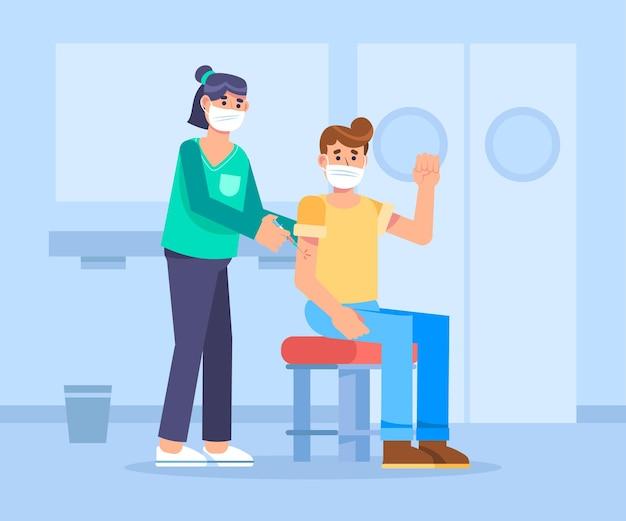Flacher arzt, der einem patienten impfstoff injiziert