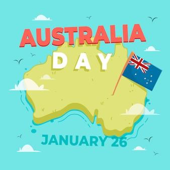 Flacher australien-tag mit australischer karte