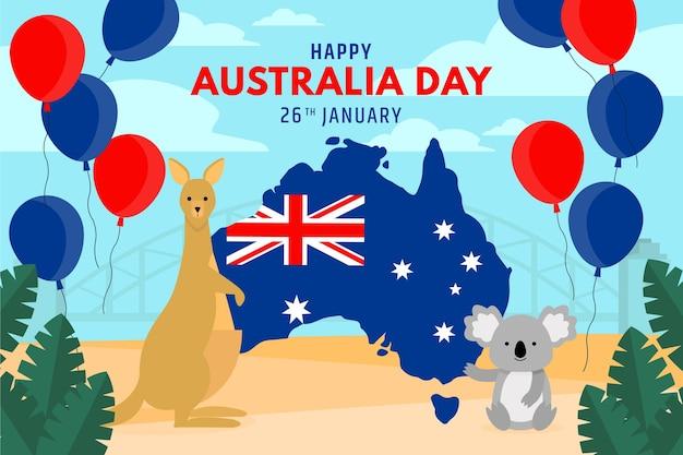 Flacher australien-tag mit tieren und luftballons