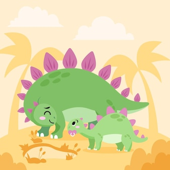 Flacher baby-dinosaurier illustriert