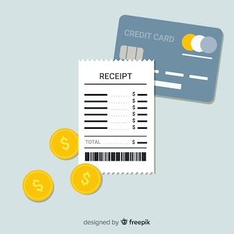 Flacher beleg und kreditkarte