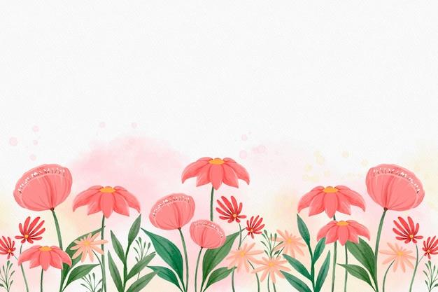 Flacher blumenhintergrund mit gezeichneter illustration der aquarellhand