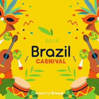 Flacher brasilianischer karnevalshintergrund