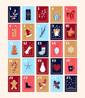 Flacher bunter adventskalender