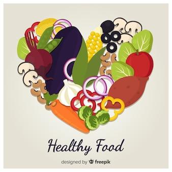 Flacher bunter gesunder lebensmittelhintergrund