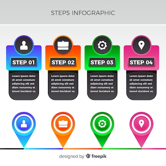 Flacher bunter nummerierter schritt infographic