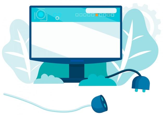 Flacher cartoon-computer-monitor mit steckdose