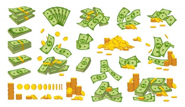 Flacher cartoon-satz des geldstapel-münzstapels. goldmünzen bankwährungszeichen fallen hunderte dollar