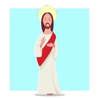 Flacher charakter der jesus christ-vektor-karikatur. illustration