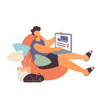 Flacher charakter, der waren im online-shop mit lieferung nach hause bestellt Premium Vektoren