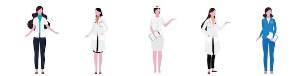 Flacher charakter des krankenhausfrauen-personalsatzes