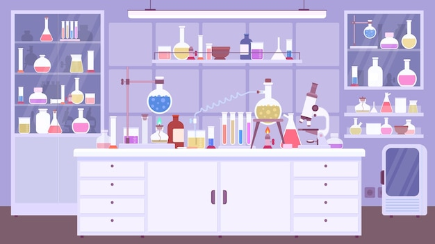 Flacher chemischer laborraum mit wissenschaftlerausrüstung. chemieklassenzimmer oder wissenschaftslabor mit experiment auf dem tisch, vektorszene. illustration labor innenchemikalie