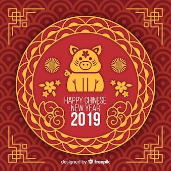 Flacher chinesischer hintergrund des neuen jahres 2019