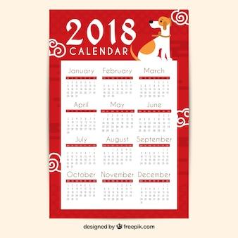 Flacher chinesischer kalender des neuen jahres