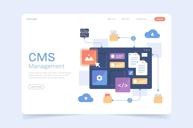 Flacher cms-inhalts-landingpage-stil