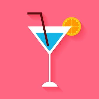 Flacher cocktail mit orangenscheibe und tubulus. vektor-illustration von alkoholischen getränken