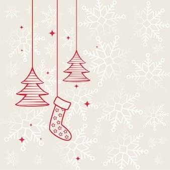 Flacher dekorativer hintergrund der frohen weihnachten