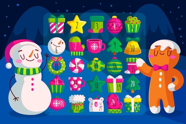 Flacher design-adventskalender mit schneemann und lebkuchenmann