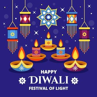 Flacher design-diwali-hintergrund mit kerzen