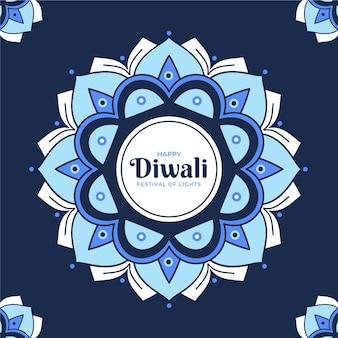 Flacher design-diwali-hintergrund mit mandala