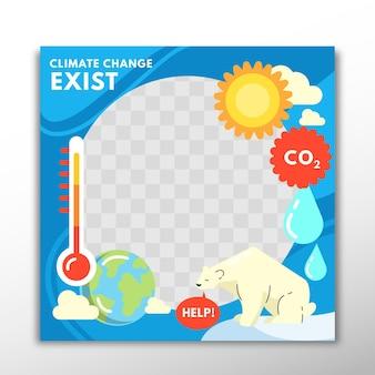 Flacher design-facebook-rahmen des klimawandels