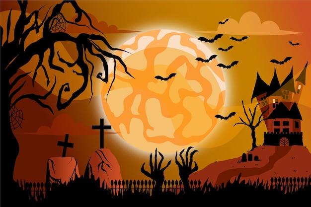 Flacher design-halloween-hintergrund mit gräbern
