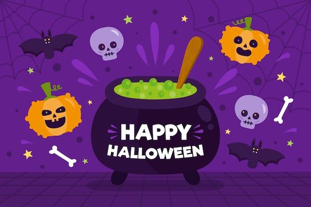 Flacher design-halloween-hintergrund mit kessel