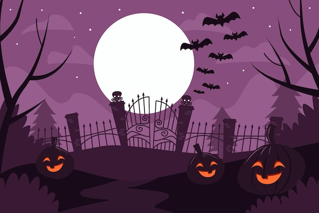 Flacher design-halloween-hintergrund mit kürbissen und fledermäusen