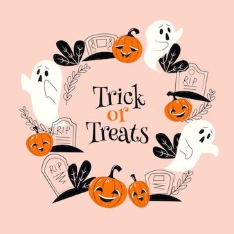 Flacher design-halloween-rahmen mit geistern