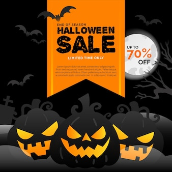 Flacher design-halloween-verkauf mit rabatt