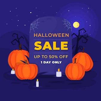 Flacher design-halloween-verkauf