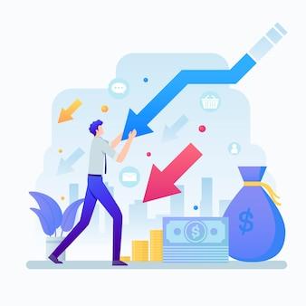 Flacher design-konkurs-effekt auf die wirtschaft dargestellt