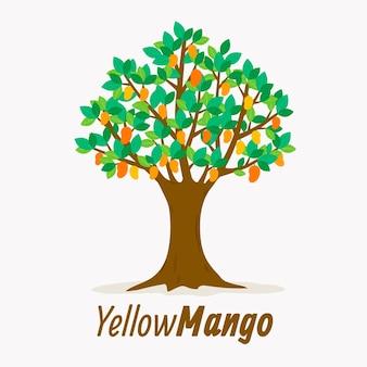 Flacher design-mangobaum mit frucht- und blattillustration