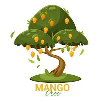 Flacher design-mangobaum mit früchten und blättern dargestellt