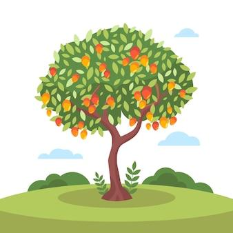 Flacher design-mangobaum mit früchten und blättern