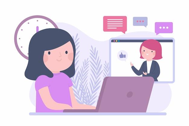 Flacher design-online-kurs mit mädchen und laptop